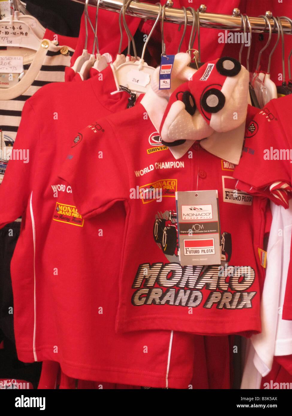 MONACO shop selling Grand Prix fashions - Stock Image
