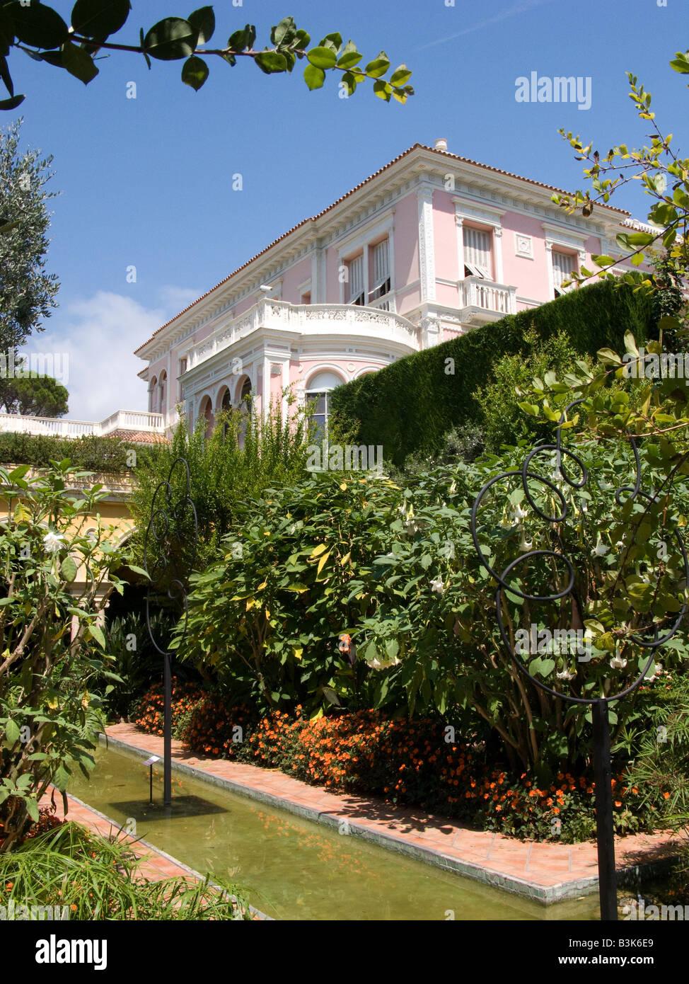 The Gardens and Villa of Ephrussi de Rothschild on Cap Ferrat near Nice, Cote d Azur Provence of France - Stock Image