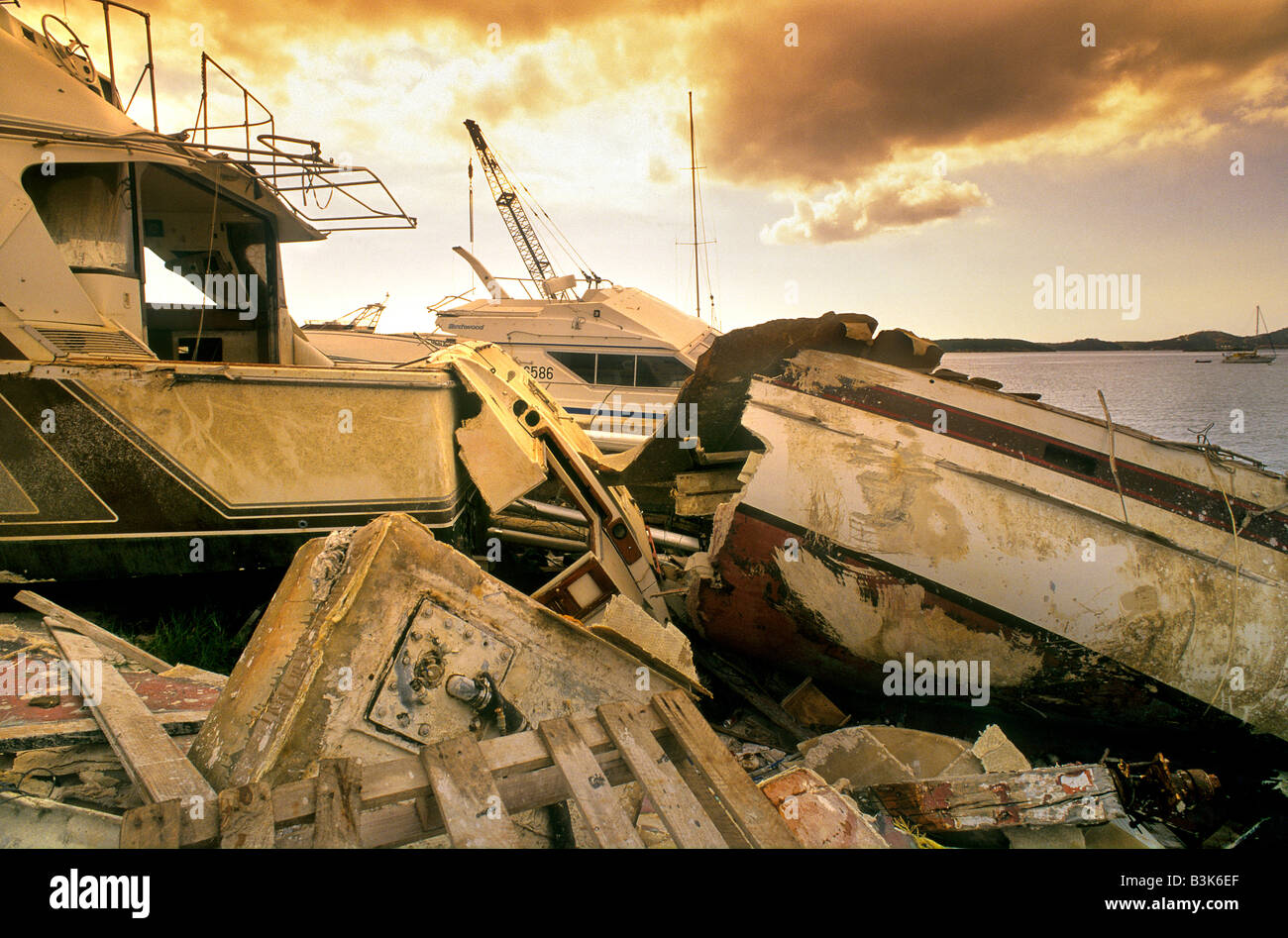 Destruction of a harbor area on the island of St Maarten after a hurricane - Stock Image