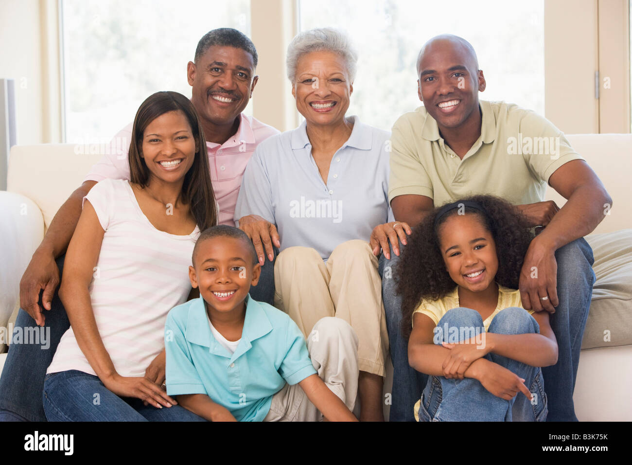 extended family in living room smiling stock photo 19477071 alamy
