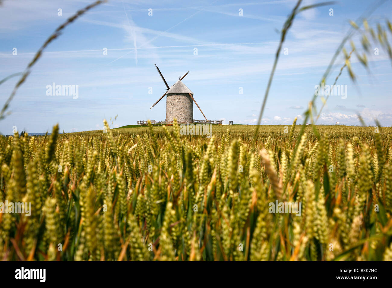 July 2008 - Wind mill Normandy France - Stock Image