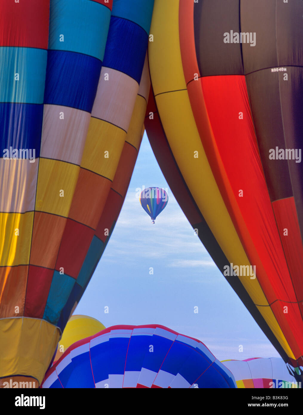 Close up of hot air balloons with one framed Art and Air Festival Albany Oregon - Stock Image