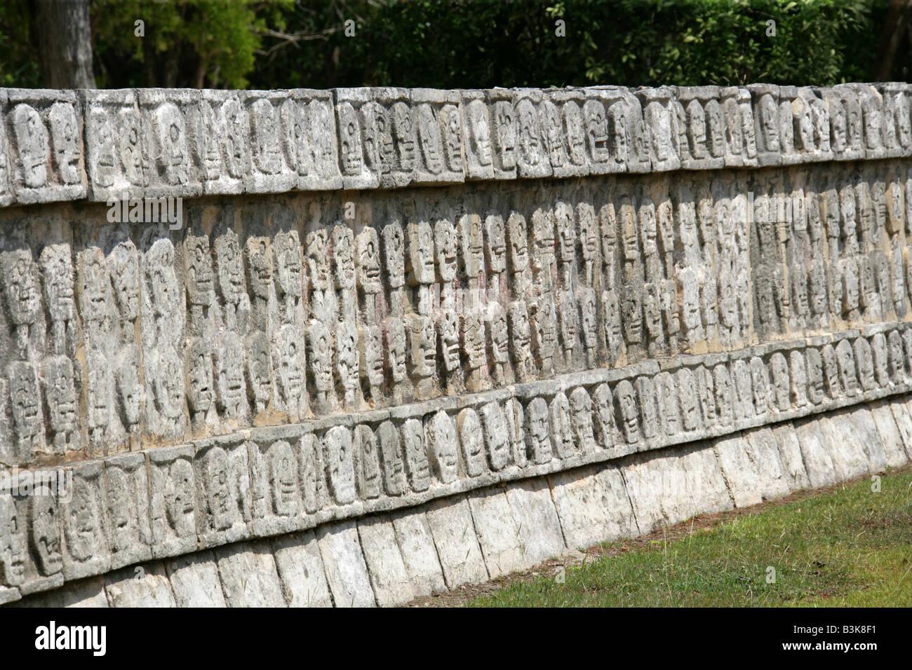 Detail from the Tzompantli Platform of the Skulls, Chichen Itza Archeological Site, Yucatan Peninsular, Mexico Stock Photo