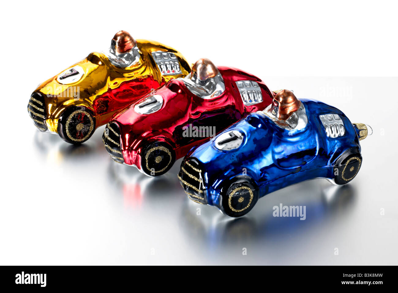 three christmas racing car decorations from poland