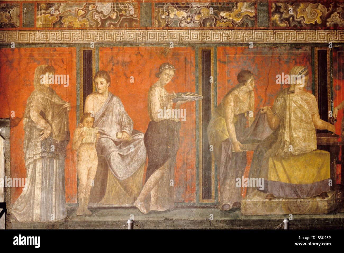 Pompei. Italy. Frescoes in the Villa dei Misteri, (Villa of the Mysteries) Pompeii archaeological site - Stock Image
