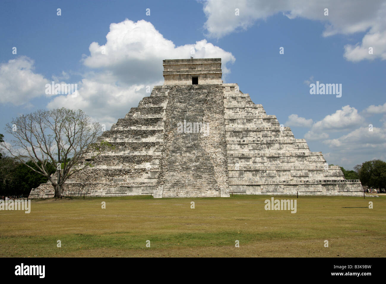 The Castle Pyramid (El Castillo Pyramid) or Temple of Kukulcan, Chichen Itza Archaeological Site, Chichen Itza, Stock Photo