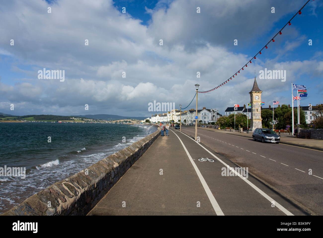 Exmouth seafront and promenade on a sunny summers day Devon England United Kingdom GB Great Britain British Isles - Stock Image