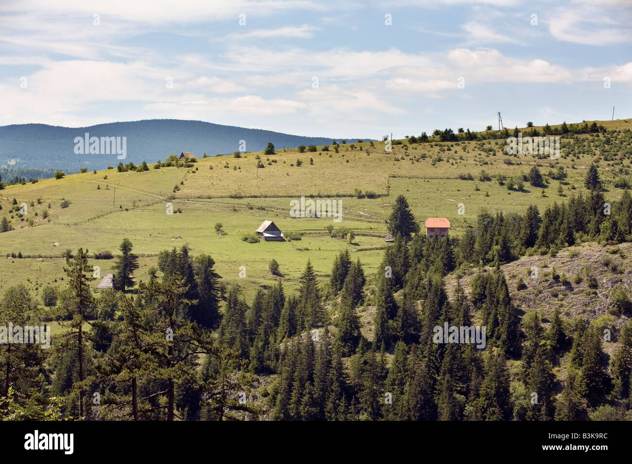 Mountain pastures of Imljani village in Bosnia and Herzegovina Stock Photo