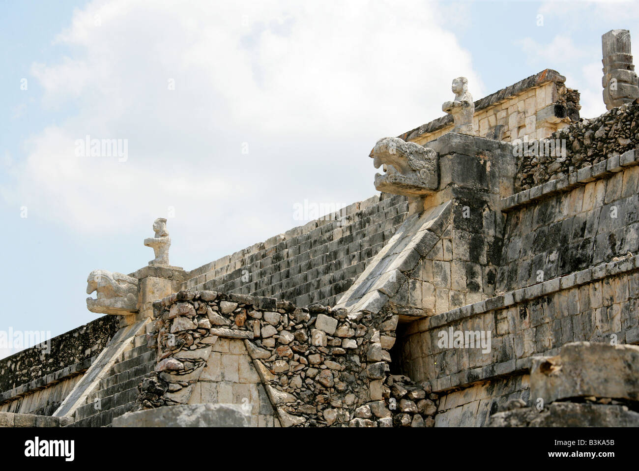 Detail of the Temple of the Warriors, Chichen Itza Archaeological Site, Chichen Itza, Yucatan Peninsula, Mexico Stock Photo