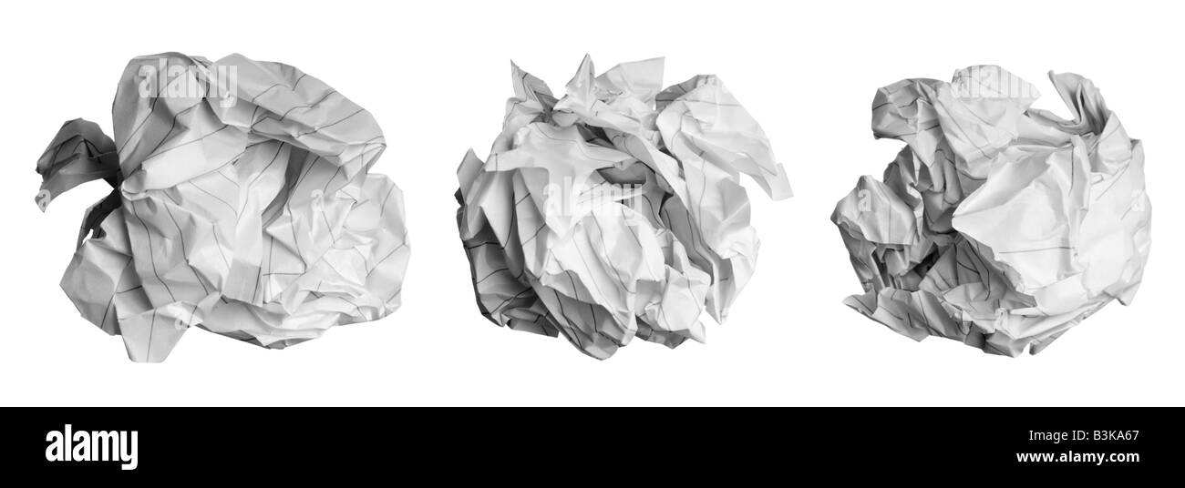 Crumpled paper balls - Stock Image