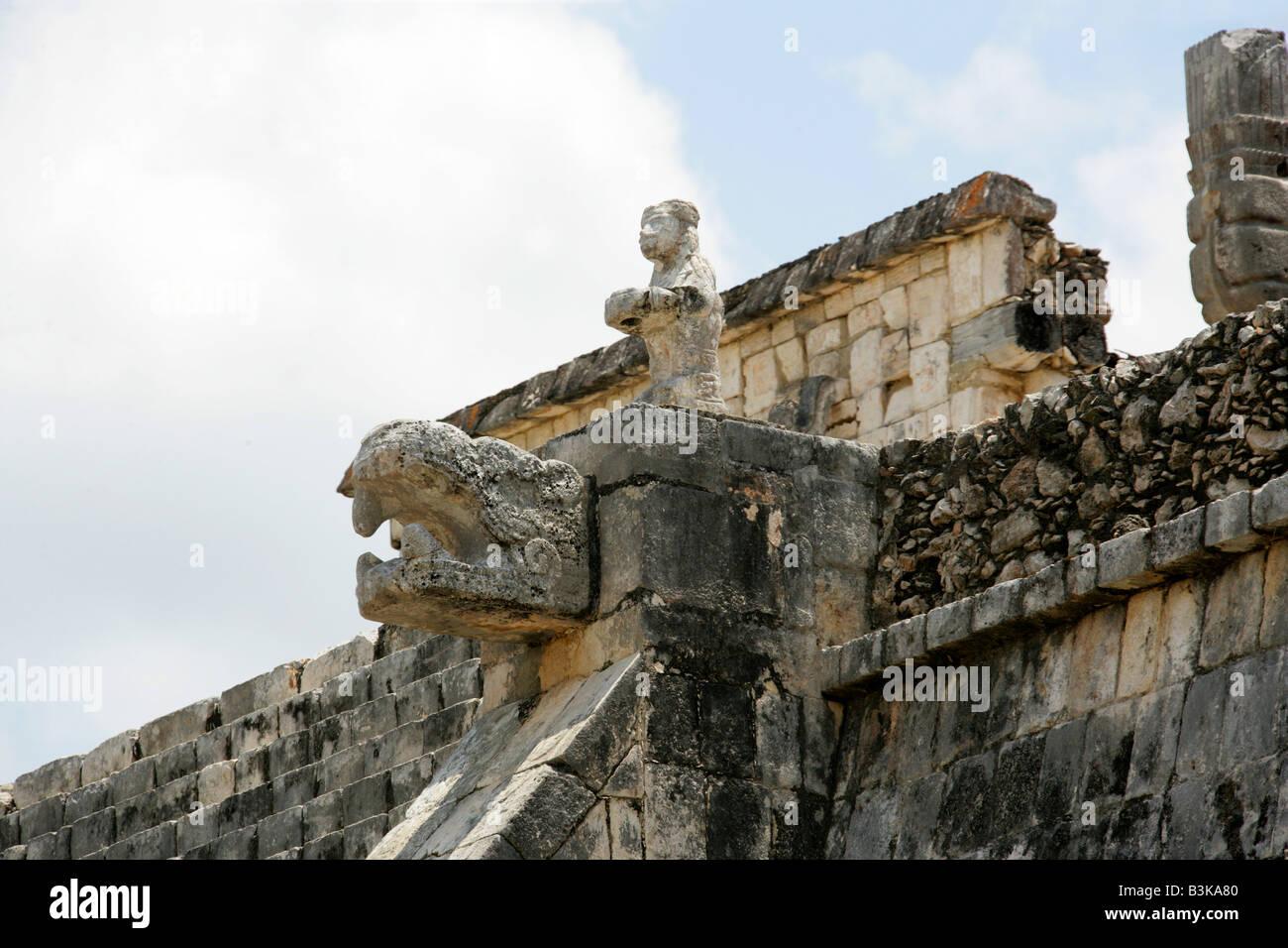 Detail of the Temple of the Warriors, Chichen Itza Archaeological Site, Chichen Itza, Yucatan Peninsula, Mexico Stock Photo