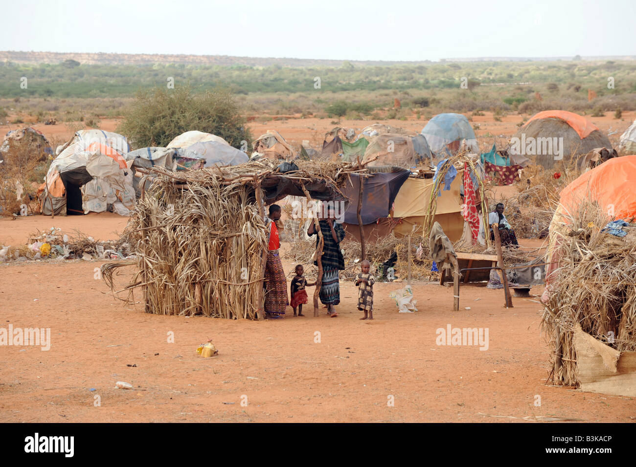 Belet Amin a camp for internally displaced Somalis fleeing fighting in Mogadishu - Stock Image