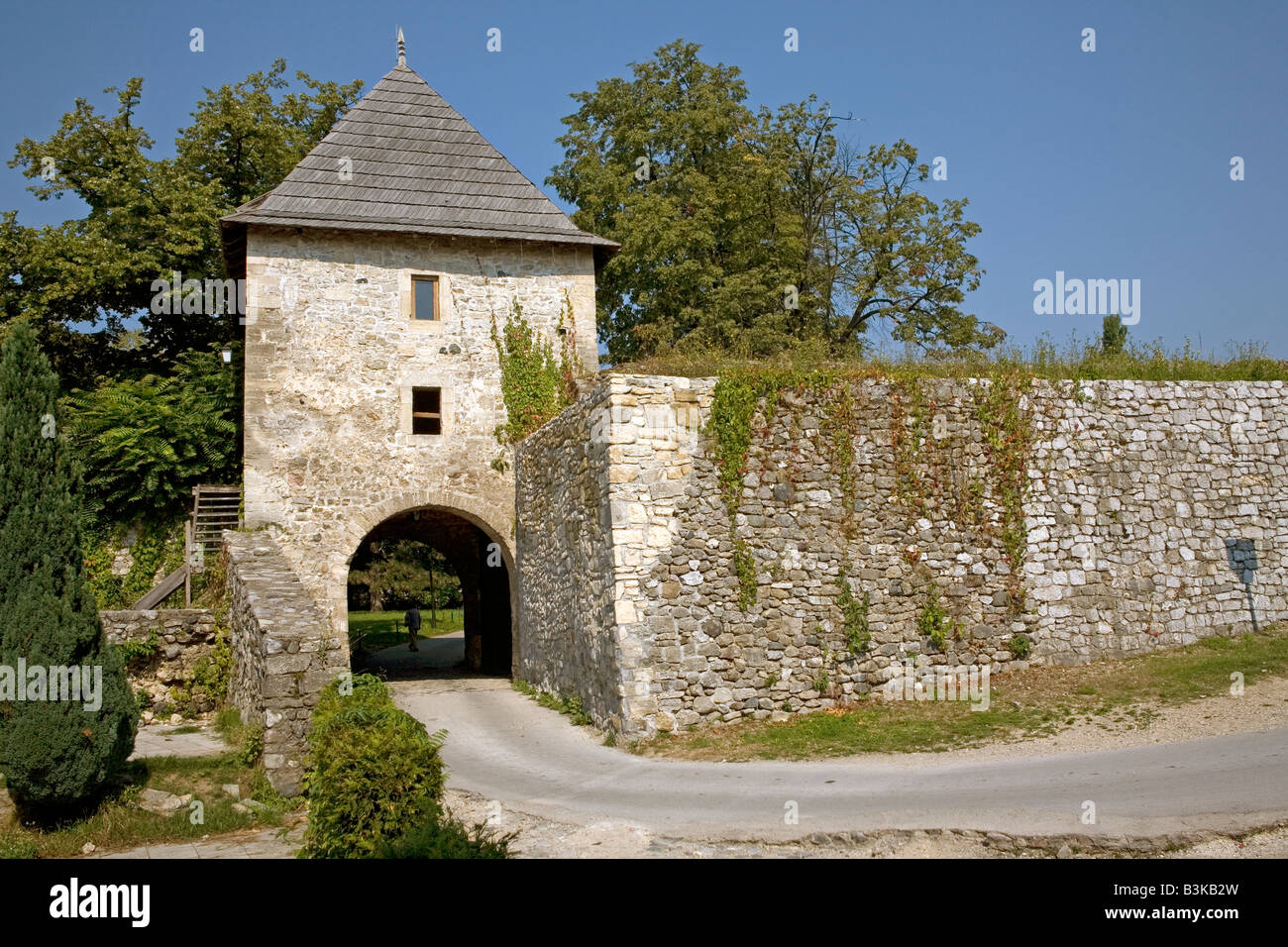 One of towers of medieval castle in Banja Luka capital of Republic of Srpska Bosnia and Herzegovina - Stock Image