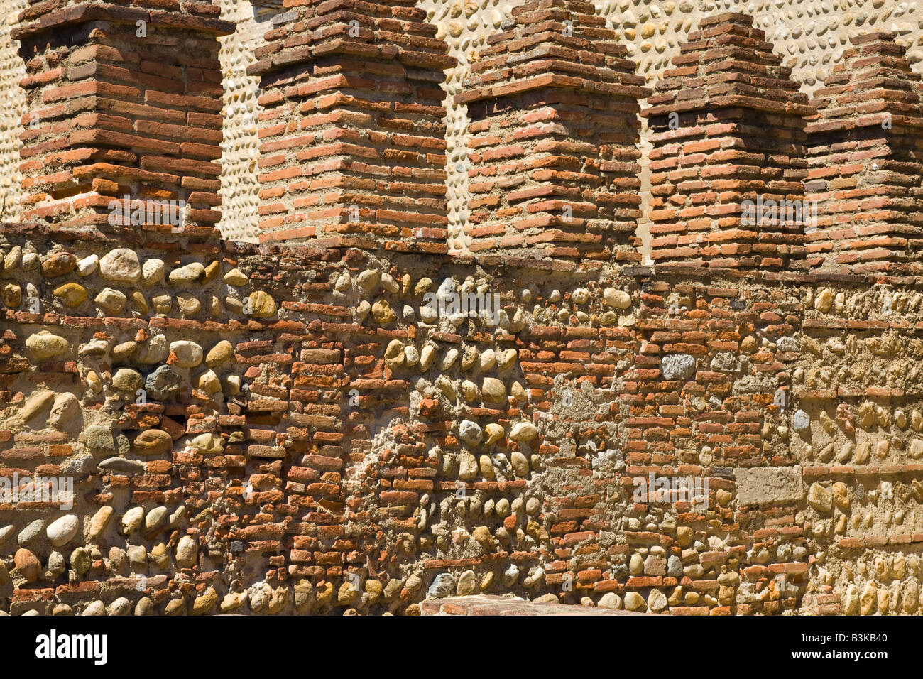 Brickwork inside the Palace of the Kings of Majorca at Perpignan in southern France - Stock Image