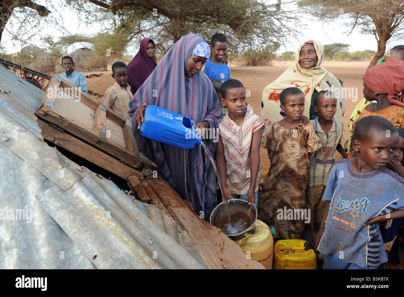 At Belet Amin, a camp for internally displaced Somalis. The camp was set up for people fleeing the fighting in Somalia - Stock Image