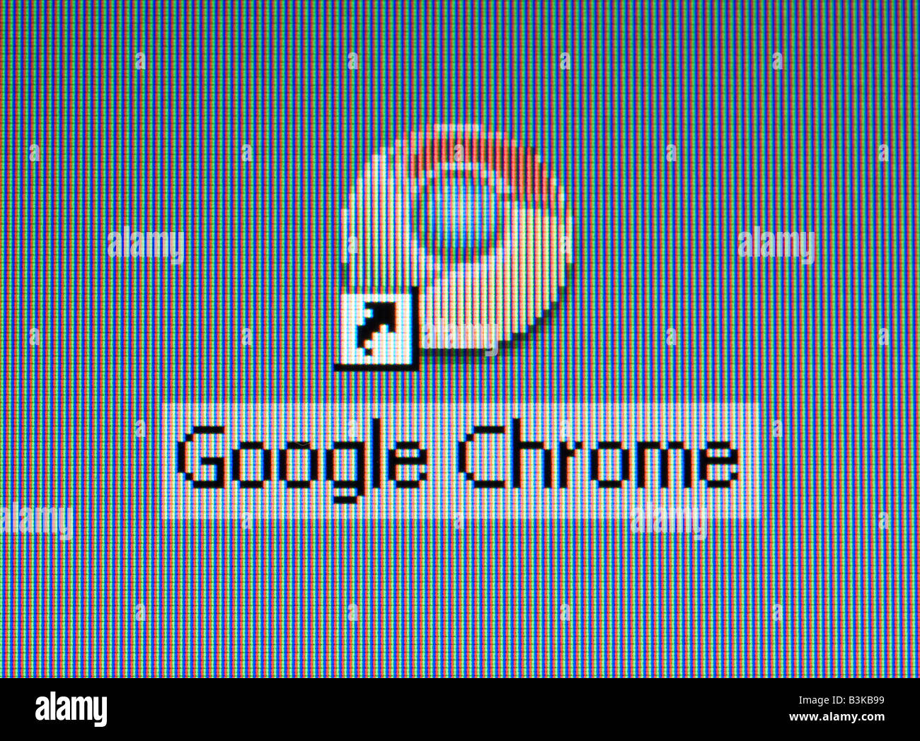 Screenshot of the new Google Chrome browser logo on the desktop - Stock Image