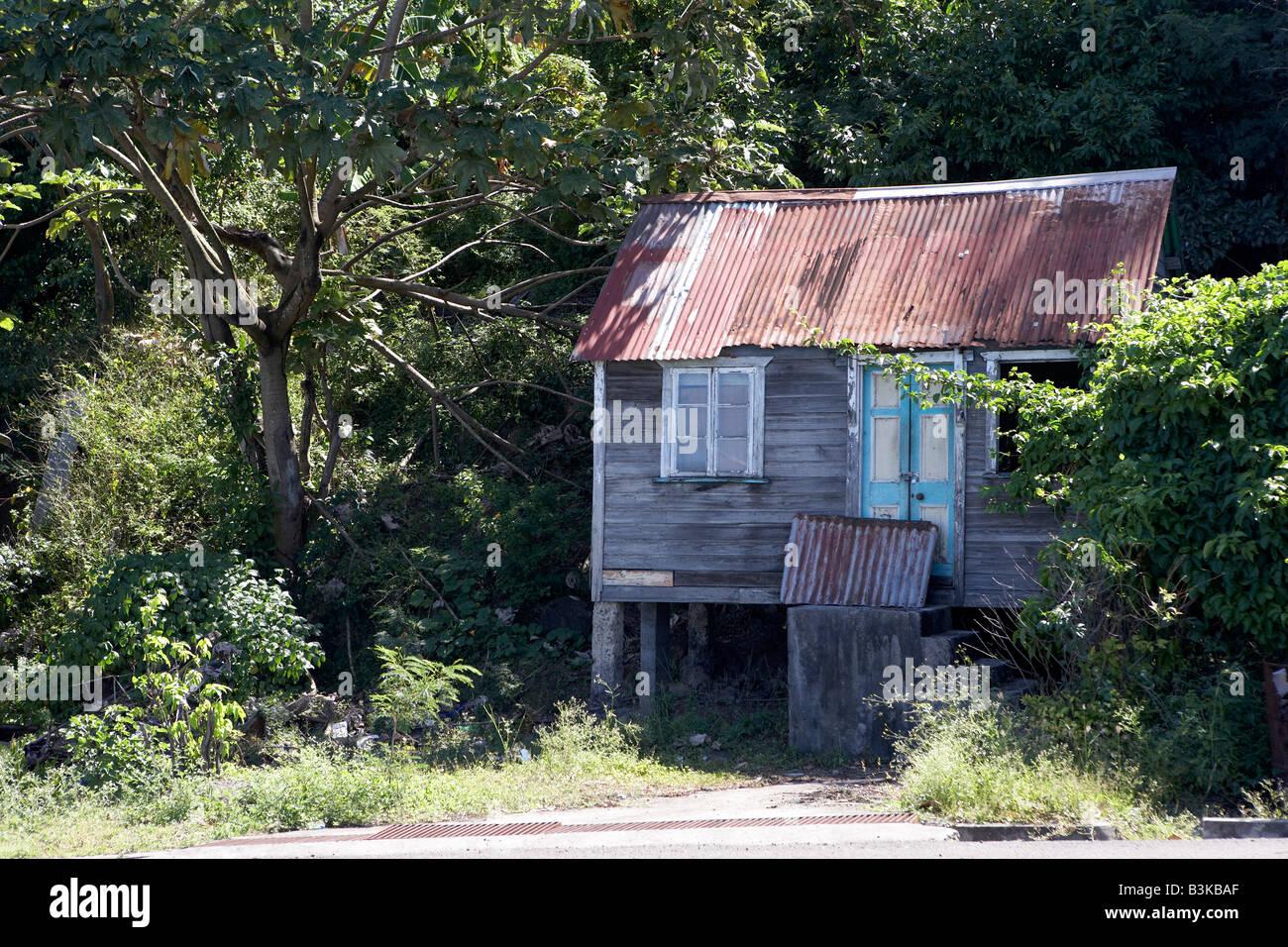 Shack With Corrugated Metal Roof Grenada West Indies