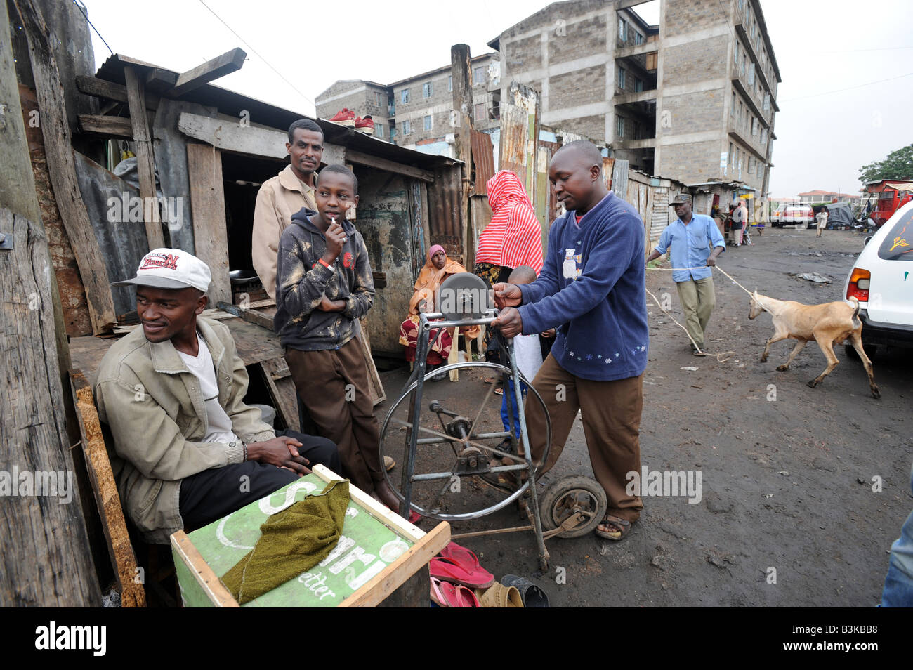 Somali refugees in the suburb of Eastleigh in Nairobi Kenya 6 7 2008 - Stock Image
