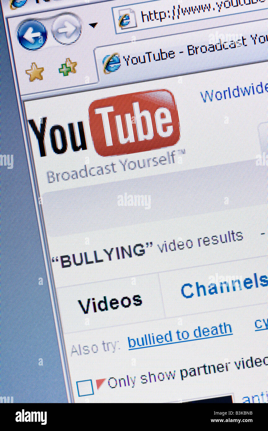 Youtube video website screen and logo showing search for bullying videos - Stock Image