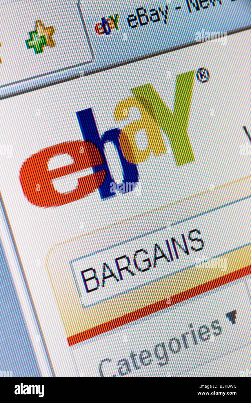 Ebay website splash screen and logo showing search for bargains Stock Photo