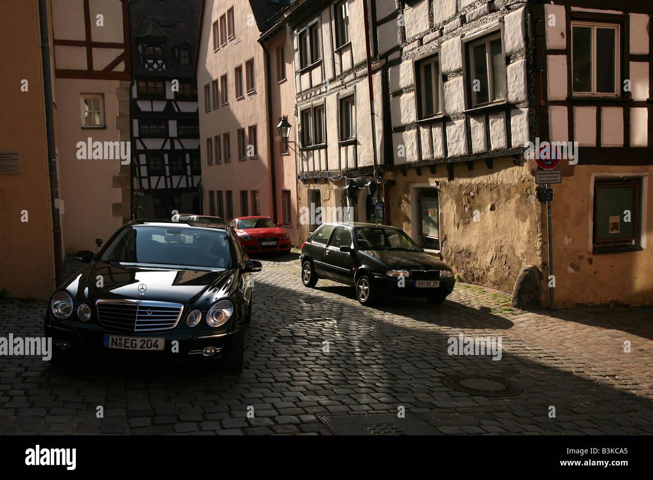 Traditional German Fachwerk houses in Nuremberg, Germany - Stock Image