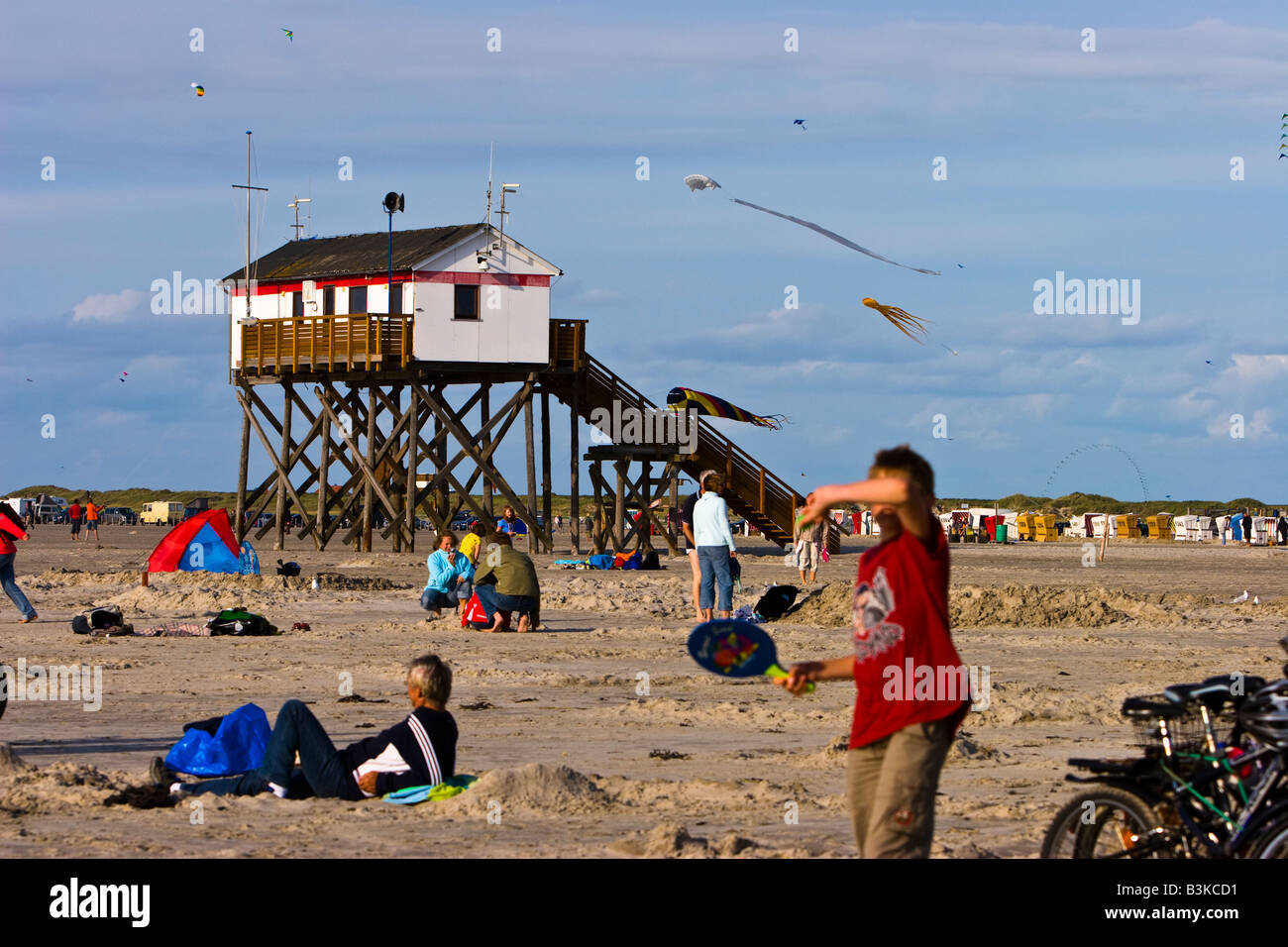 Building on stilts on the beach at the seaside resort of St Peter Ording North Sea coast North Frisia Schleswig Stock Photo