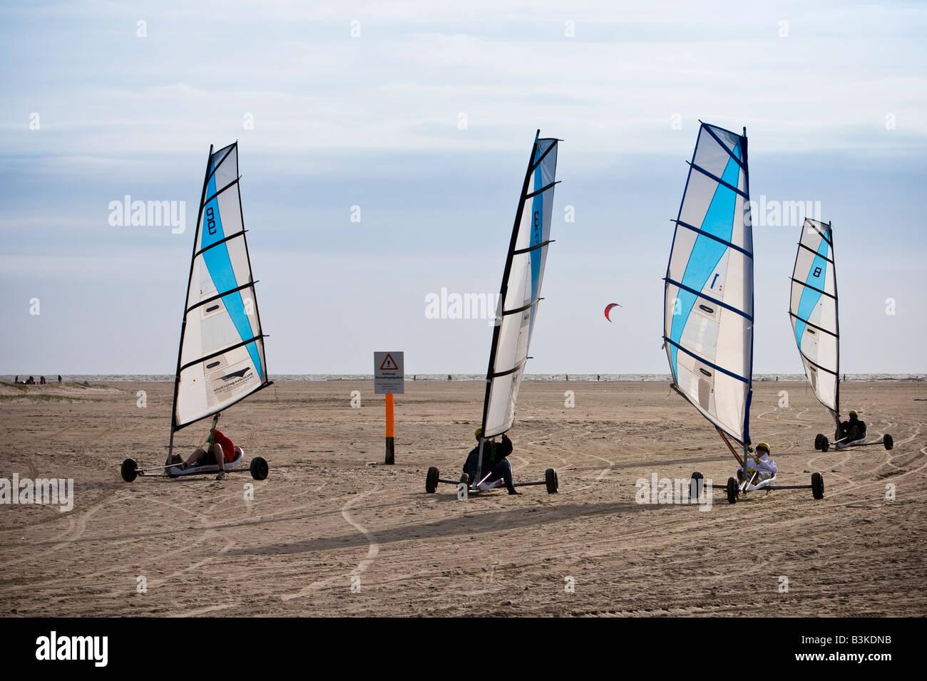 Kitebuggy on St.Peter Ording beach, Schleswig-Holstein, North Germany - Stock Image