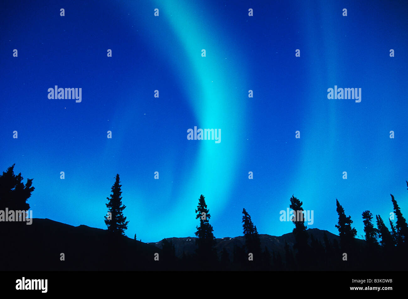 Northern Lights or Aurora Borealis Tangle Lake Alaska USA - Stock Image