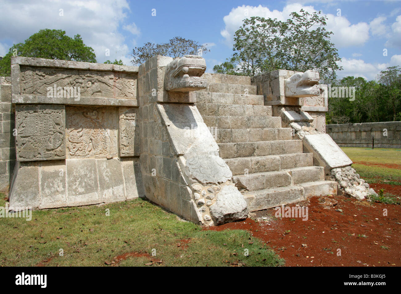 The Platform of the Eagles and Jaguars, Chichen Itza Archeological Site, Yucatan Peninsular, Mexico Stock Photo