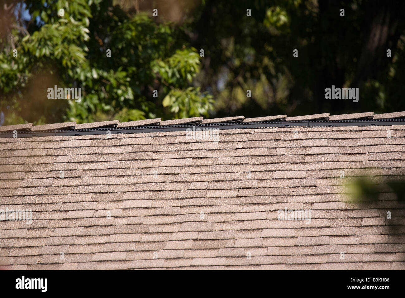 Roof ridge ventilation system - Stock Image