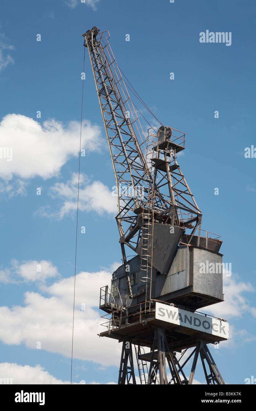 Historic, no longer used, dockside crane at Fremantle, Western Australia - Stock Image