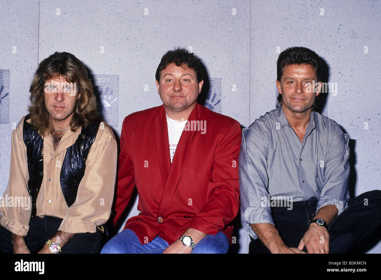 EMERSON LAKE AND PALMER  UK rock group with from left Keith Emerson, Greg Lake and Carl Palmer about 1980 - Stock Image