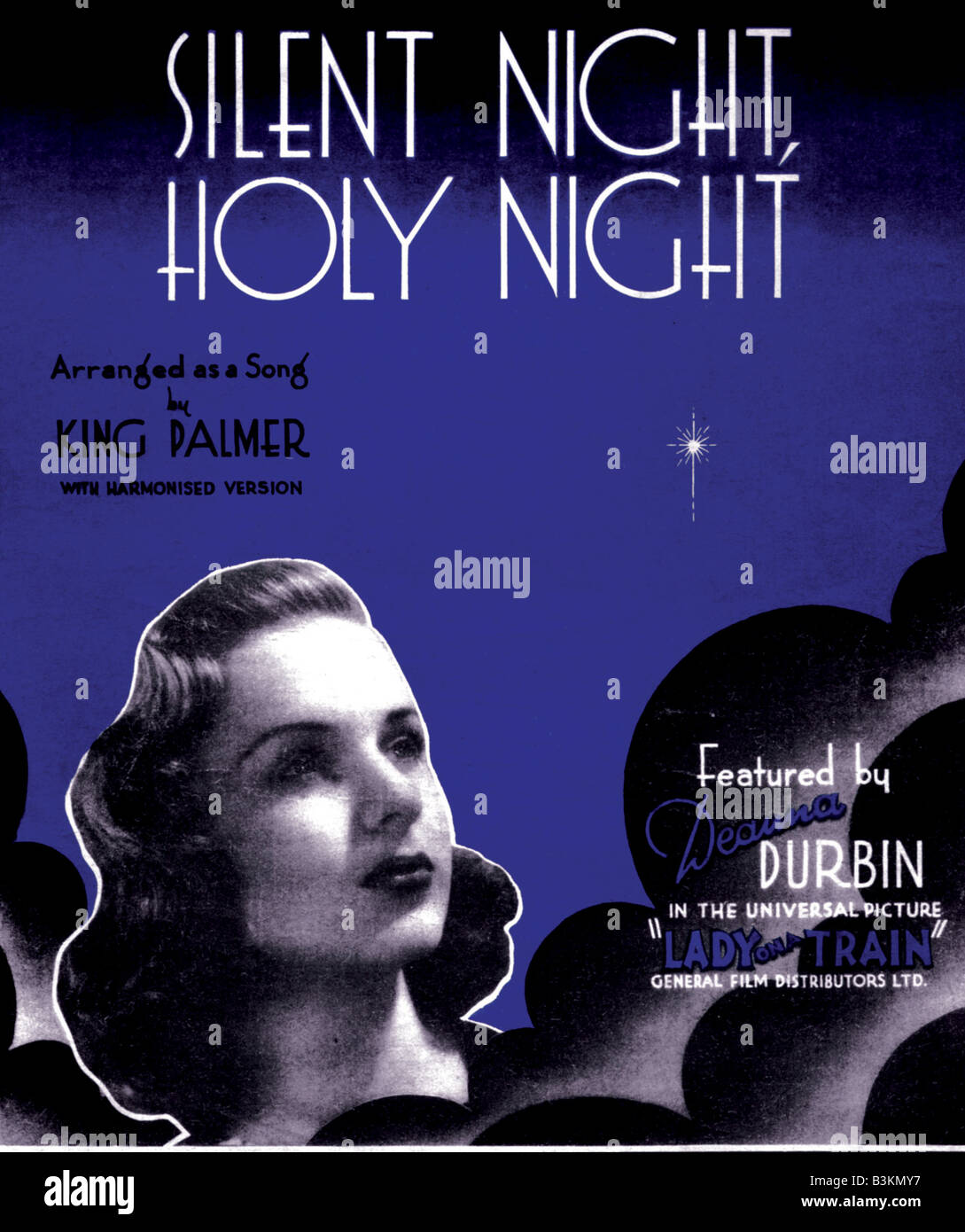 DEANNA DURBIN Sheet music for Silent Night, Holy Night sung by her in the 1945 Universal film Lady On A Train - Stock Image