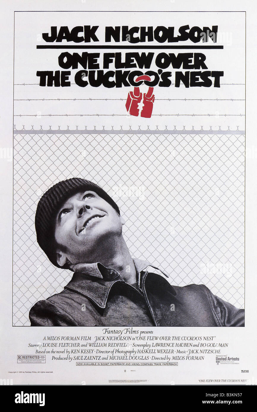 ONE FLEW OVER THE CUCKOO'S NEST  Poster for 1975 UA/Fantasy film with Jack Nicholson - Stock Image