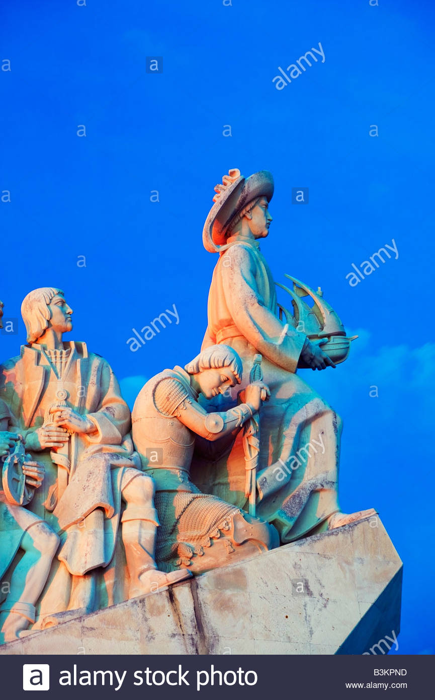 Monument to the Discoveries Padrao dos Descobrimentos view of figures of explorers Belem Lisbon Portugal - Stock Image