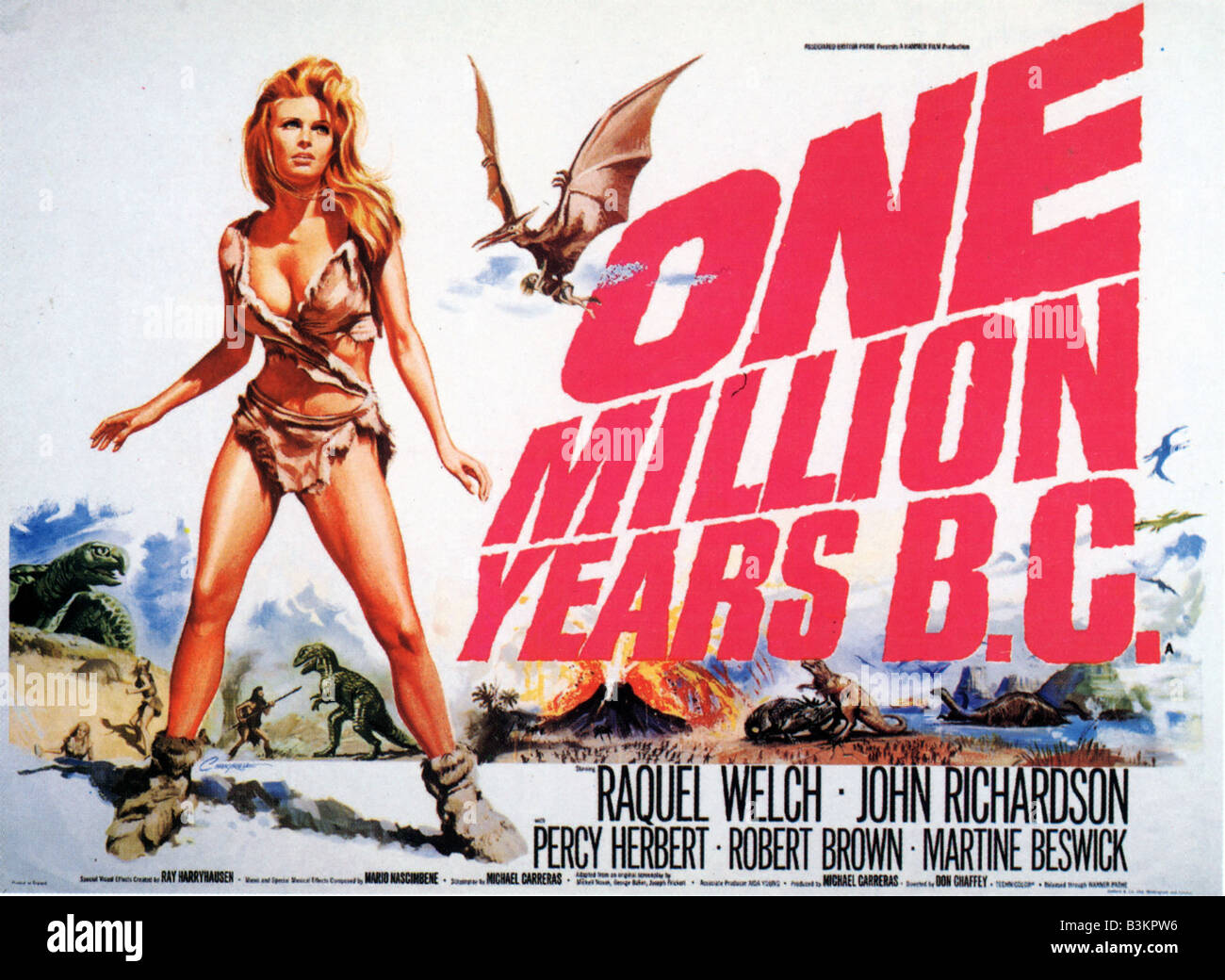 ONE MILLION YEARS BC Poster for 1966 Hammer film with Raquel Welch - Stock Image