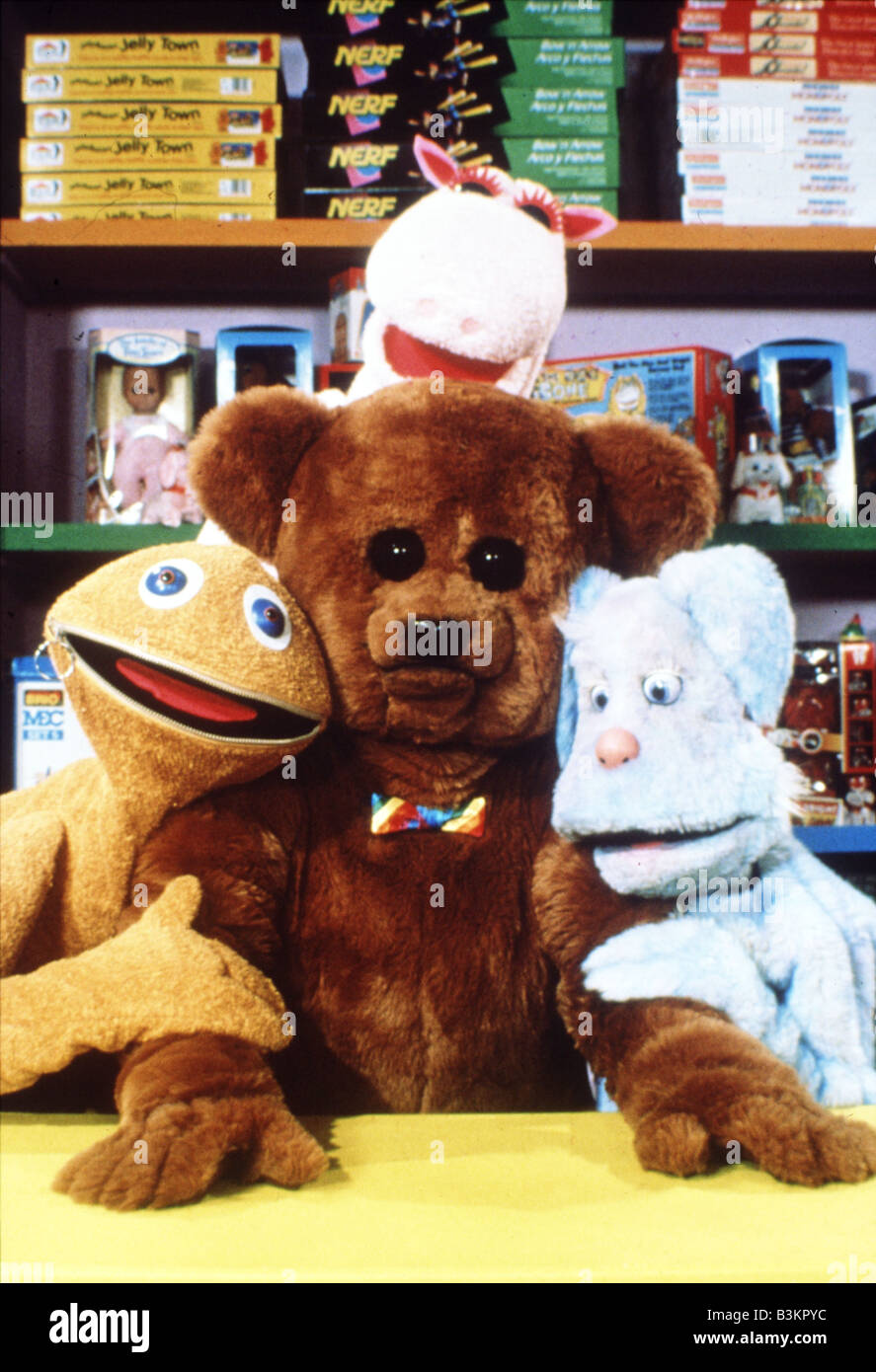 RAINBOW  UK TV childrens programme in it's 1993 format. Clockwise from top   George the Hippo, Cleo the Rabbit, Stock Photo
