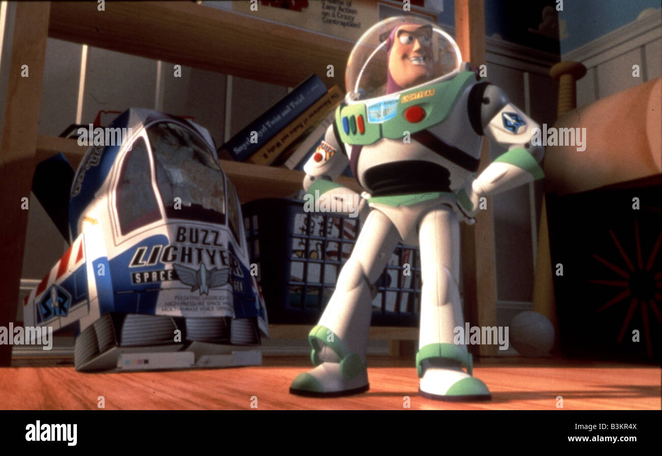 TOY STORY  1995 Buena Vista/Walt Disney film with Buzz Lightyear at right - Stock Image