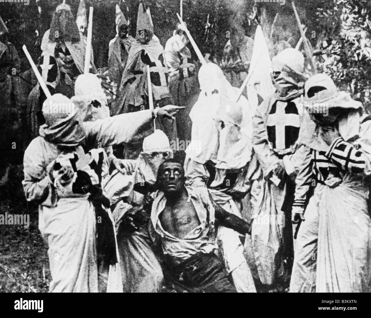 THE BIRTH OF A NATION 1915 Epoch silent film directed by D W Griffith showing the Ku Klux Klan Stock Photo