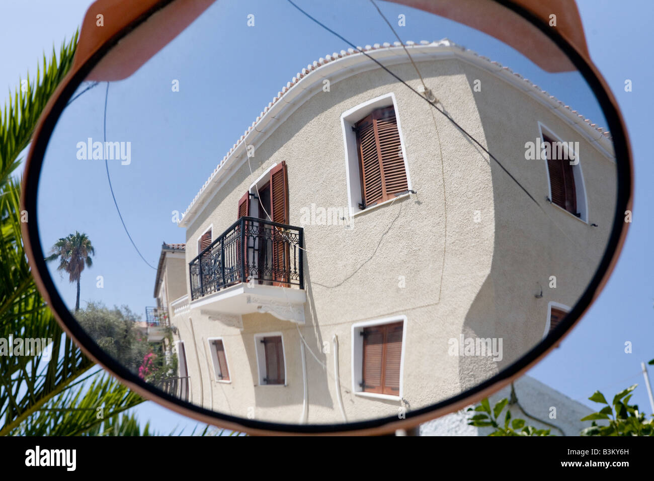 Road Safety Mirror    Spetses Greek Islands Hellas - Stock Image