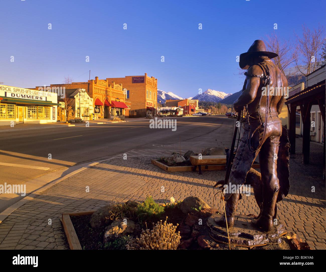 Downtown Joseph with Wallowa Mountains Oregon - Stock Image
