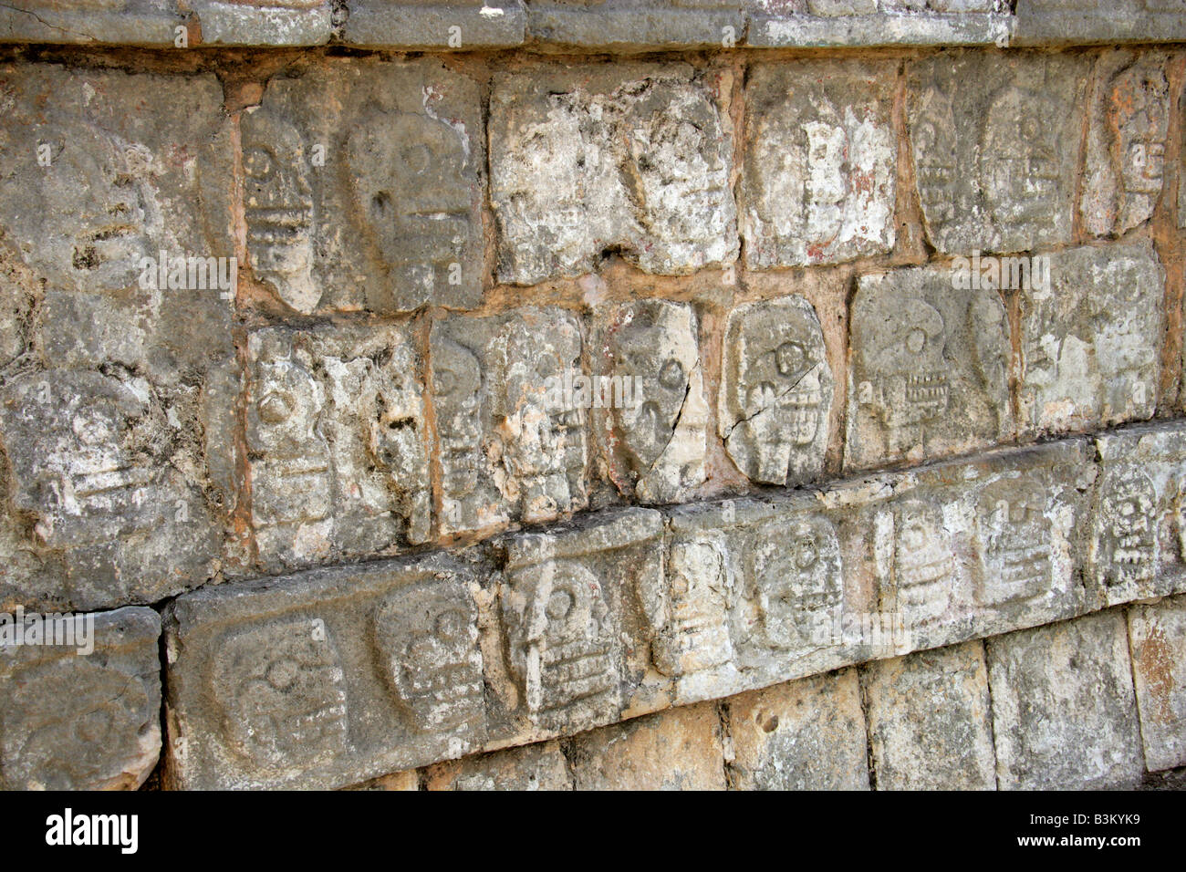 Detail from the Tzompantli Platform of the Skulls, Chichen Itza Archeological Site, Yucatan Peninsular, Mexico Stock Photo