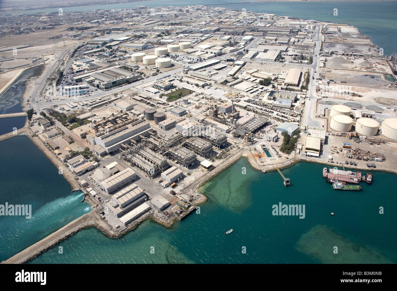 Arial photograph of costal industrial area in Bahrain Stock