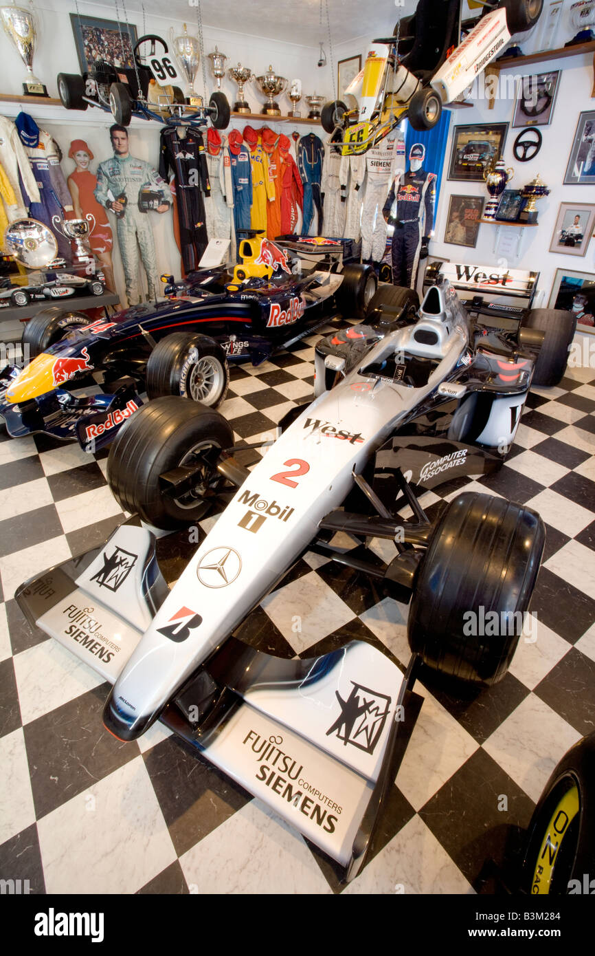 Inside the David Coulthard Museum Formula One McLaren Mercedes and Red Bull Racing car Twynholm Dumfries and Galloway - Stock Image
