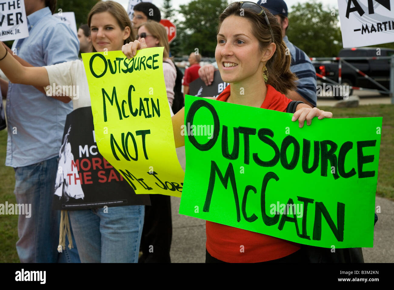 Sterling Heights Michigan Protesters picket a campaign rally for John McCain - Stock Image