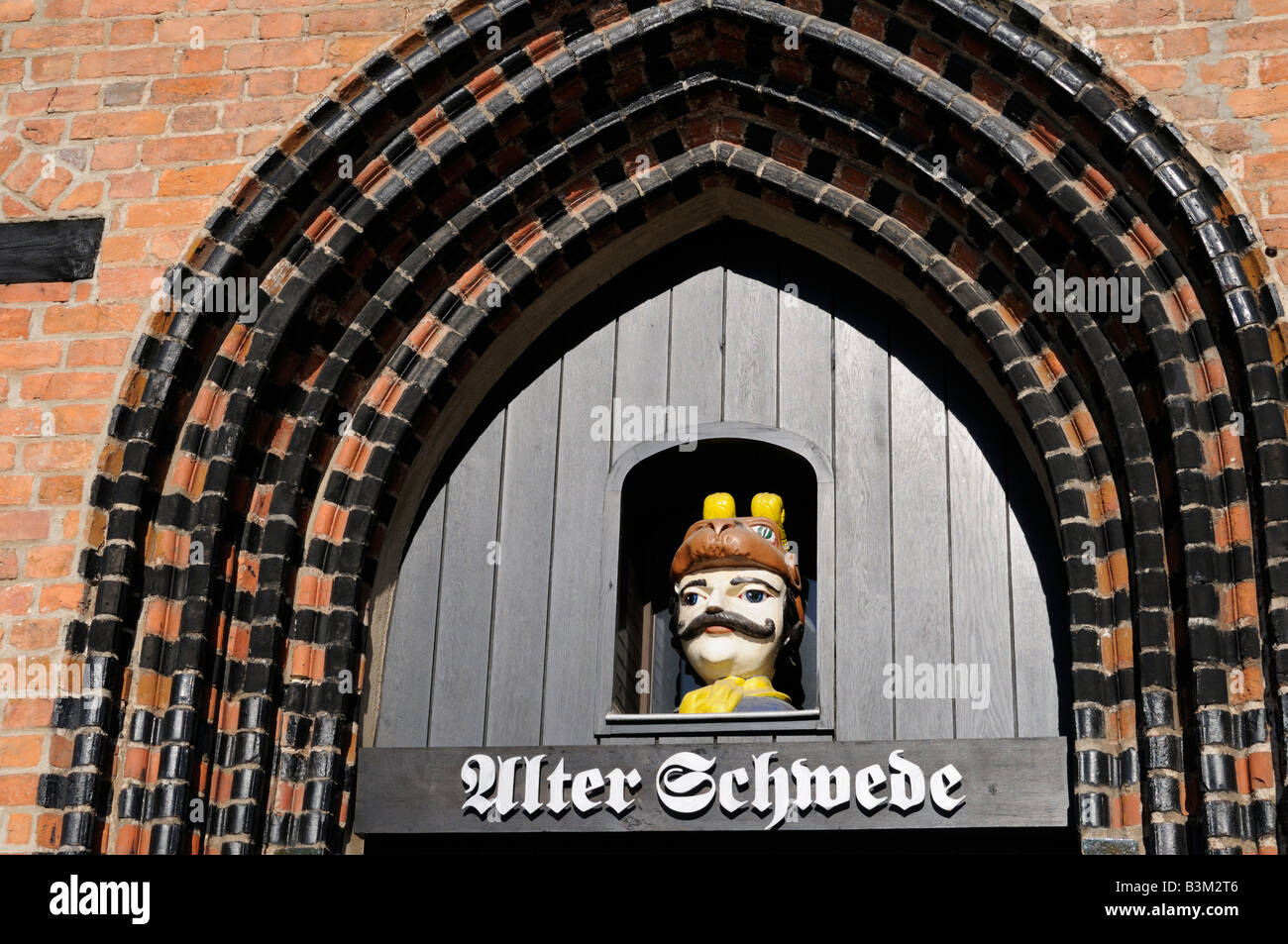 Portal eines der ältesten Häuser in Wismar Deutschland Portal one of the oldest houses in Wismar Germany - Stock Image