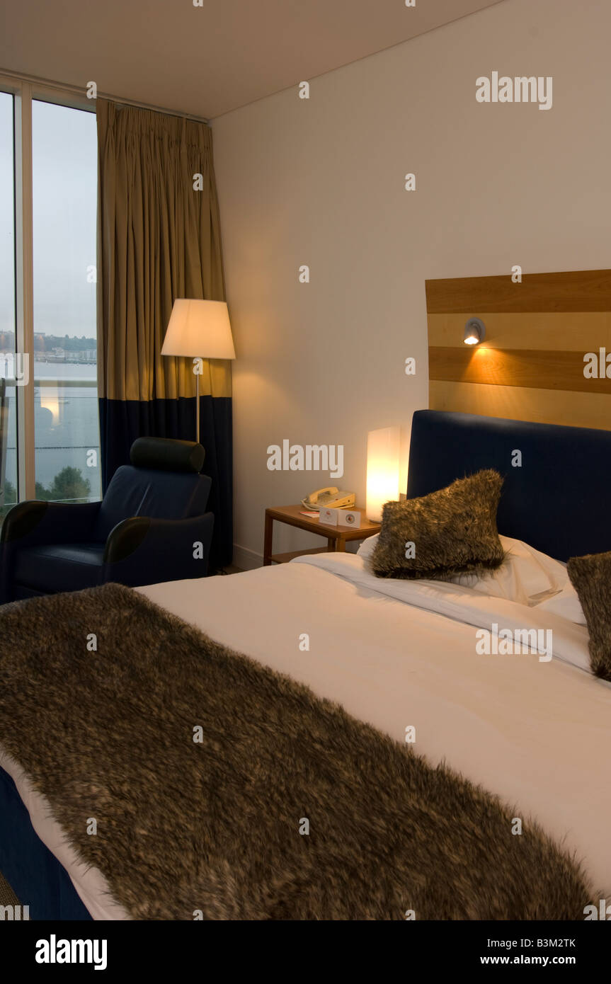 Bedroom at the St Davids luxury 5 star hotel Cardiff bay Wales UK - Stock Image