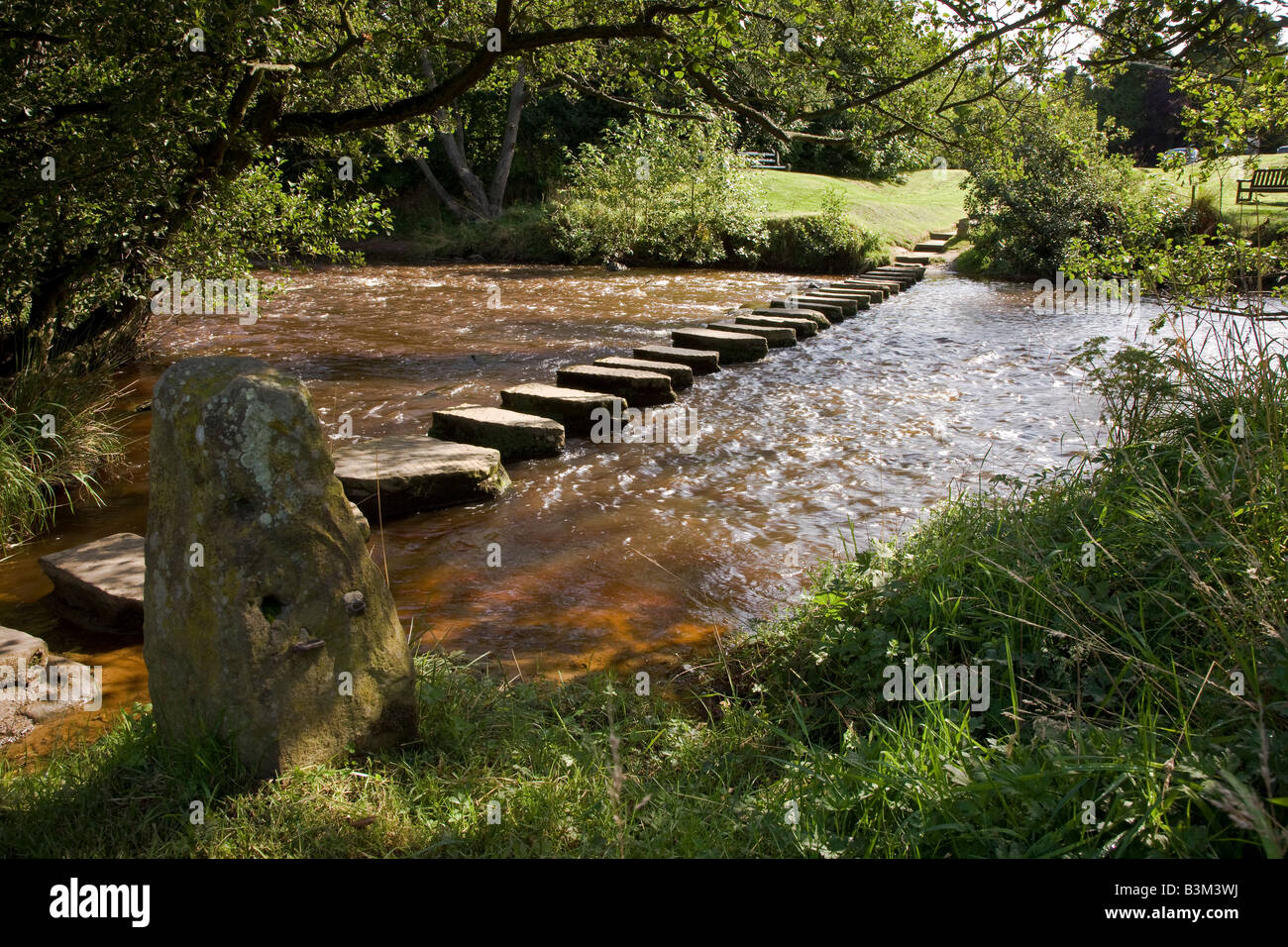 Stepping Stones across the River Esk at Lealholm Esk Valley North Yorkshire Moors - Stock Image