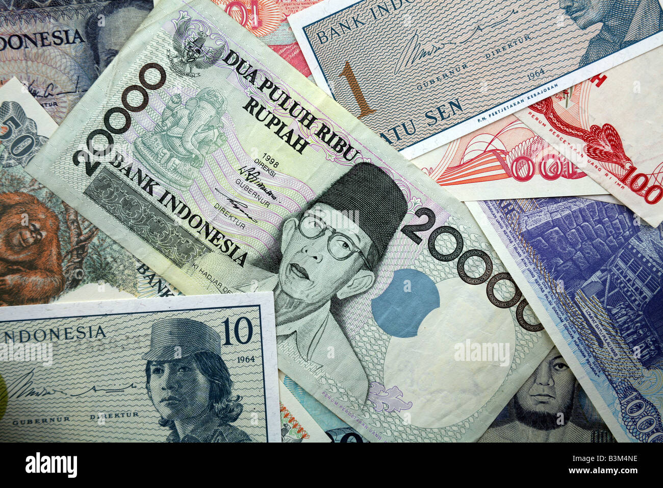 Rupiah Currency Bank notes from Indonesia Stock Photo