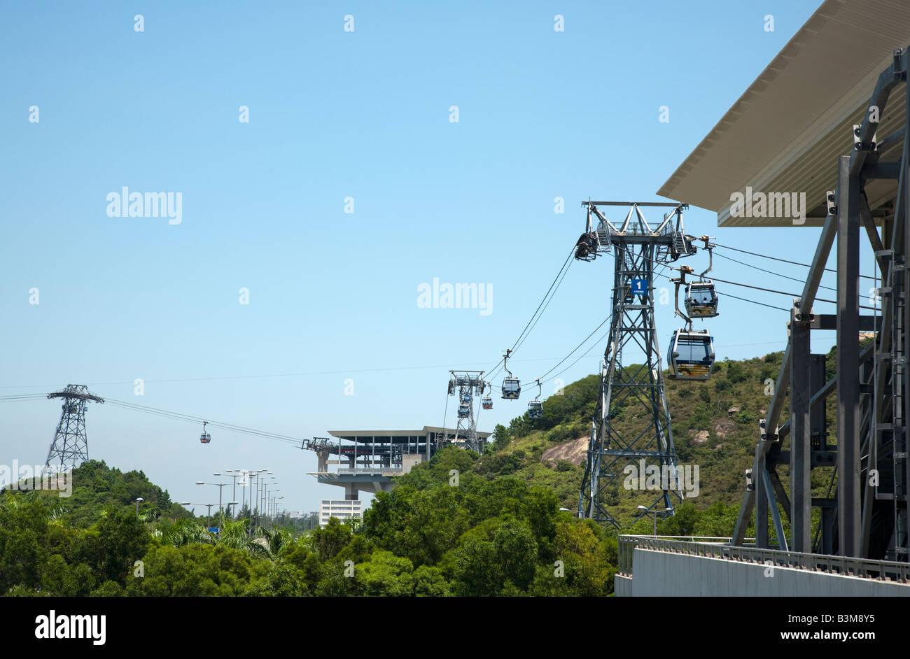 Cable Car to Lantau Island, Hong Kong - Stock Image